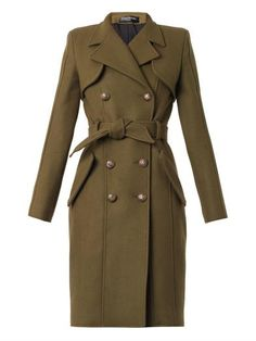 Double-breasted wool trench coat | Balmain | MATCHESFASHION.COM
