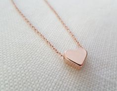 Rose gold heart necklace...dainty handmade necklace, everyday, simple, birthday,  wedding, bridesmaid jewelry on Etsy, $16.00