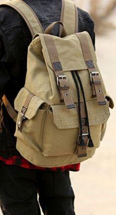 Fashion School Travel Laptop Canvas Shoulder Backpack Men's Rucksack Bags