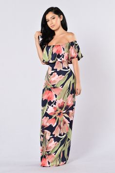 - Available in Multiple Colors! - Off the Shoulder - Maxi Length - Tropical Floral Print - Made in USA - 95% Polyester, 5% Spandex