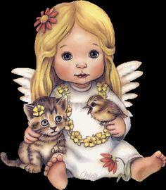 Sweeet LIttle Angel With Her Pets photo bag2-10.gif