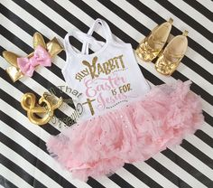Pink and Gold Glitter 2pc Silly Rabbit Easter Is for Jesus Tutu Dresses For Toddler Girls Age 1-4Let us add a little or a lot of shine to your little angel's Easter celebration with our New and Exclusive glitter Silly Rabbit Easter Is for Jesus tutu dresses. This tutu dress is Designed with a gold glitter Silly Rabbit Easter Is for Jesus on a fluffy mint tutu dress. Your little one will definitely be the sparkle in your eye on Easter day. Glitter does not come off and will not get all ove...
