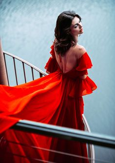 Sooki Dress - #Dress #Sooki Red Gown Prom, Red Gowns, Prom Dresses, Red Chiffon, Chiffon Dress, Orange Dress, Dress Red, Little Girl Photography, Haute Couture Gowns
