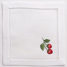 Strawberries Cocktail Set - White Cotton 38 In Stock Hand Embroidery Flowers, Embroidery Letters, Hand Work Embroidery, Hand Embroidery Designs, Embroidered Flowers, Cross Stitch Embroidery, Strawberry Cocktails, Cocktail Napkins, White Cotton