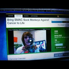 Holy Monkeys. SMAC! Campaign near $20k. When we hit $20k, two people will pledge $1000 each. Let's get these monkeys into the arms of cancer patients EVERYWHERE. Pledge here: http://www.smacancer.com/pledgenow/  #smacancer