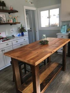 Rustic Kitchen Island Made From Reclaimed Pine Barnwood, Made to Order - Modern Rustic Kitchen Island, Kitchen Island With Seating, Tall Kitchen Table, Kitchen Cabinets For Cabins, Kitchen Island With Wheels, Floating Kitchen Island, Homemade Kitchen Island, Build Kitchen Island, Kitchen Peninsula