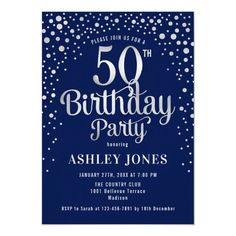 50th Birthday Party - Navy & Silver Invitation Invitation Fete, Carton Invitation, Shower Invitation, 60th Birthday Party Invitations, 90th Birthday Parties, Birthday Gifts, Mom Birthday, Birthday Ideas, Birthday Typography
