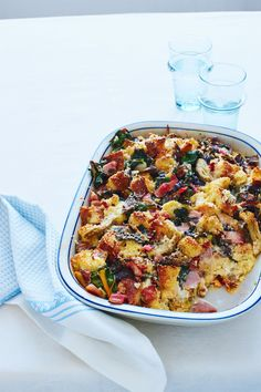 """""""We love hosting brunch but hate getting up at the crack of dawn to prepare it. So we make this elegant breakfast casserole and chill it in the fridge overnight, then bake it in the morning. Go ahead and sleep in a little. Your guests will never know!"""" — Crystal and Sandy Recipe: Breakfast Bread Pudding   - Delish.com"""