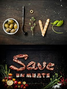 i love how the type is created by food, an object that isn't traditionally used to create type.