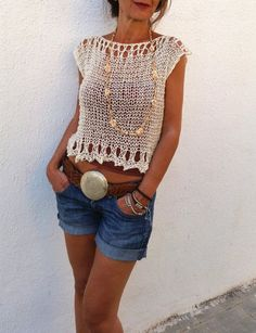 Knit cropped sweater crop top cream loose knit tank summer cotton shrug womens fashion beach cover up hand knit Knit Fashion, Sweater Fashion, Womens Fashion, Summer Knitting, Hand Knitting, Crochet Summer, Moda Country, Pull Court, Summer Sweaters