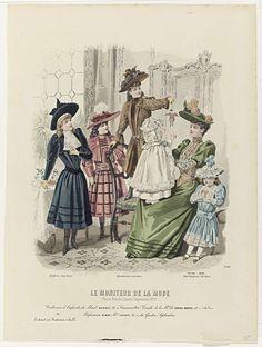 A. Portier | Le Moniteur de la Mode, 1891, Nr. 2744, No. 48 : Costumes d'Enfants..., A. Portier, Abel Goubaud, H. Lefèvre, 1891 | Een vrouw zit met een kind op schoot; een meisje staat op een stoel ernaast en houdt een marionet op. Drie andere meisjes staan eromheen. Volgens het onderschrift:  kinderkleding van Madame Barbey. Hieronder enkele regels reclametekst voor verschillende producten. Prent uit het modetijdschrift Le Moniteur de la Mode (1843-1913).