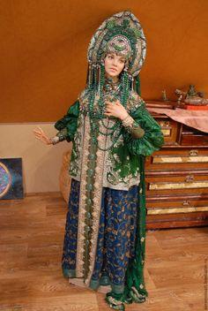 """Купить Кукла""""Хозяйка Медной горы"""" - зеленый, кукла интерьерная, авторская ручная работа, единственный экземпляр"""