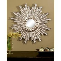 """Padrone Silver 25"""" Round Wall Mirror -"""