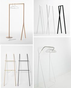 Ideal for small spaces, simple ladders, freestanding clothing racks and hanging rails are not only functional items for the home, they prov. Rack Design, Store Design, Clothing Store Interior, Interior Styling, Interior Design, Wardrobe Furniture, Hanger Rack, Hangers, Hanging Racks