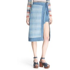 Free People 'Double the Fun' Cotton Skirt ($168) ❤ liked on Polyvore featuring skirts, farewell party wash, free people, cotton wrap skirt, blue striped skirt, blue wrap skirt and blue stripe skirt