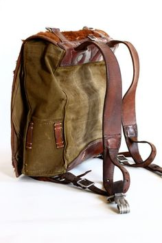 Vintage German Army Backpack Leather Canvas and by CrolA.- Vintage German Army Backpack Leather Canvas and by CrolAndCo Vintage German Army Backpack Leather Canvas and by CrolAndCo - Leather Art, Canvas Leather, Vintage Leather, Backpack Bags, Leather Backpack, Lolita Mode, Duffle, Back Bag, Leather Projects