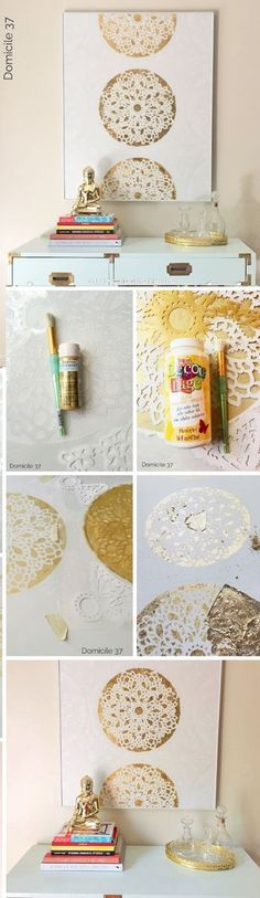 How to stencil DIY gold stenciled piece of wall art using a lace-inspired stencil, the Charlotte Allover.cuttingedgest… How to stencil DIY gold stenciled piece of wall art using a lace-inspired stencil, the Charlotte Allover. Stencil Wall Art, Stencil Diy, Diy Wall Art, Diy Wall Decor, Diy Home Decor, Lace Stencil, Stencil Patterns, Art Decor, Stenciling Walls