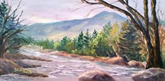 Late Afternoon on the Saco by Sharon Allen oil plein air ~ 6 x 12