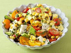 fresh mozz, Corn, Tomato and Avocado Salad Recipe - delish!