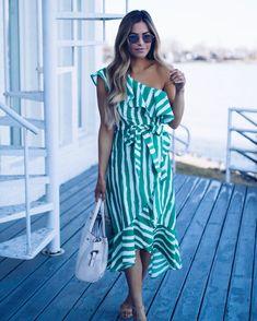 Tropic Dreams One Shoulder Dress - Green
