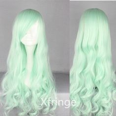 Curly Light Green Wig Long Ice Green Curly Wig Lolita by xfringe, $16.99