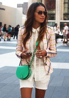 patterned jacket patterned blouse, white on white
