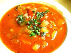 Delicious #tomato_vegetable soup.  Click For Recipe http://foodfunhappiness.blogspot.com/2013/05/hearty-veggie-soup-recipe.html