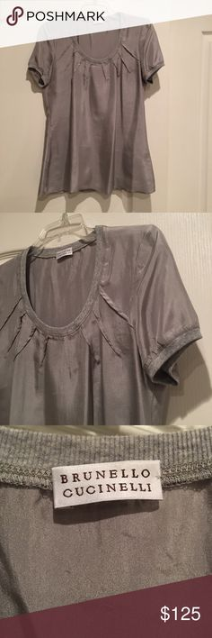 Brunello Cucinelli 100% Silk Top 100% Silk beautiful silver metallic Brunello Cucinelli top. Worn once and then dry cleaned. Brunello Cucinelli Tops