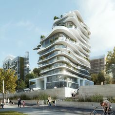 Beijing studio MAD has revealed plans for a Parisian housing block surrounded by undulating balconies – the firm& first residential project in Europe Hotel Design Architecture, Architecture Today, Unique Architecture, Futuristic Architecture, Facade Architecture, Healthcare Architecture, Future Buildings, Modern Buildings, Building Facade