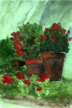 Original Maine Painting Still Life Watercolor by kathleendaughan, $75.00