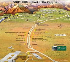 Map of Grand Canyon South Rim part 1
