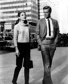 George Peppard (Paul Varjak) & Audrey Hepburn (Holly Golightly) - Breakfast at Tiffany's directed by Blake Edwards (1961) #trumancapote