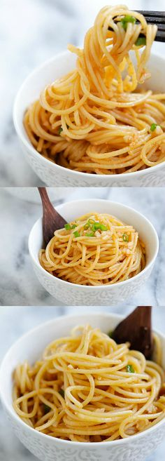 Garlic Sriracha Noodles - Garlic Sriracha Noodles - easy and crazy delicious garlic noodles with Sriracha. Savory, buttery with a tint of heat. Dinner is done in 15 mins I Love Food, Good Food, Yummy Food, Great Recipes, Dinner Recipes, Favorite Recipes, Breakfast Recipes, Dessert Recipes, Desserts