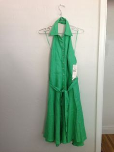 NWT $179 Ralph Lauren Halter Dress Cypress Green Linen 6 Clubwear Womens