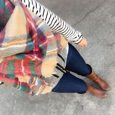 striped with scarf and vest www.shopcsgems.com winter outfit ideas winter fashion