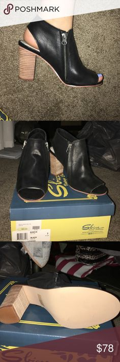 Sbicca peep toe booties Black peep toe booties, brand new, never worn, too small for me, perfect condition, have the same ones in nude in a size 8! comes with an sbicca sticker! prices are negotiable :) Sbicca Shoes Ankle Boots & Booties