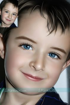 Turn photographs into hand painted digital paintings, cute little boy