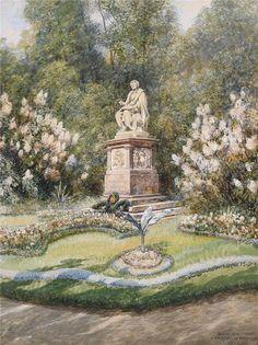 Ernst Graner Watercolor, Vienna, Paintings, Classic, Urban Park, Garten, Watercolour, Watercolor Painting, Paint