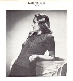 1940s Vintage Retro Fashion Knit Crochet Women's Sweater Chadwick's Instant Download Sewing Pattern PDF Pullover Blouse Top by AdeleBeeAnnPatterns on Etsy