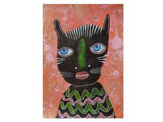 Black Cat Print  Outsider Art Cat  Quirky Cat  by ArtBeatriceM