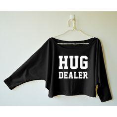 Hug Dealer Shirt Cute Tumblr Shirt Graphic Tee Shirt Women Off... ($16) ❤ liked on Polyvore featuring tops, hoodies, sweatshirts, grey, women's clothing, checked shirt, gray shirt, off shoulder tops, gray sweatshirt and grey sweatshirt