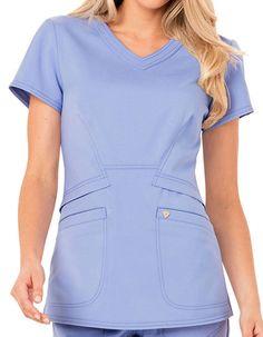 Careisma Charming Women's Antimicrobial V-Neck Scrub Top Cute Scrubs Uniform, Scrubs Outfit, Doctor Scrubs, Stylish Scrubs, Medical Scrubs, Nursing Scrubs, Nursing Clothes, Nursing Uniforms, Professional Attire