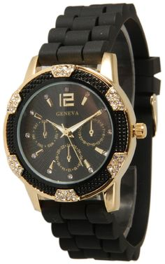 Womens Geneva Black with Gold Chronograph Silicone Rubber Jelly with CZ Crystal Rhinestones Face Bling Bezel, $14.99