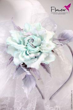 """Купить Ободок для волос - """"Комильфо"""". Цветы из шелка. - мятный, ободок для волос, ободок с розой"""