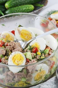 Sałatka z tuńczykiem, 8 Best Appetizer Recipes, Healthy Salad Recipes, Clean Recipes, Healthy Snacks, Dinner Recipes, Healthy Eating, Cooking Recipes, Breakfast Snacks, Summer Salads
