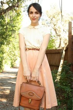 my favorite outfit {short-sleeve white shirt with peter pan collar, a-line skirt, leather belt, & leather bag}