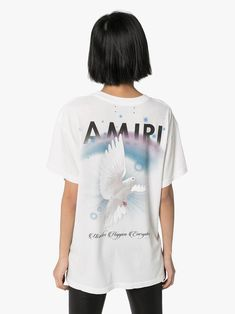 Shop online white AMIRI graphic print T-shirt as well as new season, new arrivals daily. Graphic Prints, Graphic Tees, Rock Tees, Size Clothing, Women Wear, Short Sleeves, Mens Tops, T Shirt, Fashion Design