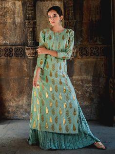 "Search Results for ""chanderi kurta"" Printed Kurti Designs, Churidar Designs, Kurta Designs Women, Fancy Blouse Designs, Dress Neck Designs, Kurta Skirt, Kurta Lehenga, Sharara, Anarkali Suits"