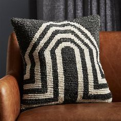 Bright white arches contrast perfectly with the charcoal grey background of this chunky knit pillow. Bold in pattern but neutral in color, Bryn E. Namavari's design puts the finishing touch on any sofa, chair or bed. Navy Pillows, Cowhide Pillows, Wool Pillows, Velvet Pillows, Accent Pillows, Cushions, Black And White Pillows, Natural Pillows, Leather Pillow