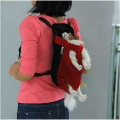 Front Style Pet Dog Carrier Backpack w/ Legs Out Design Size S - Red